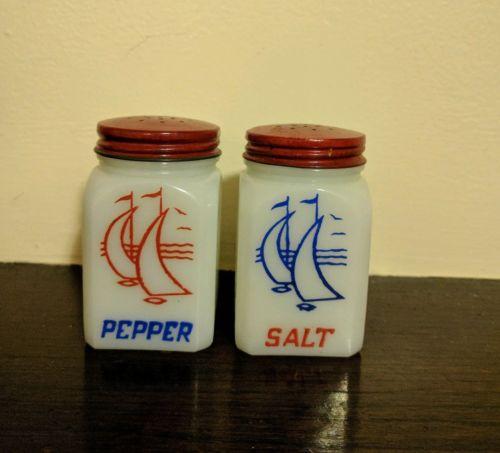 Vintage Hazel-Atlas White Milk Glass Ships Salt & Pepper Shakers