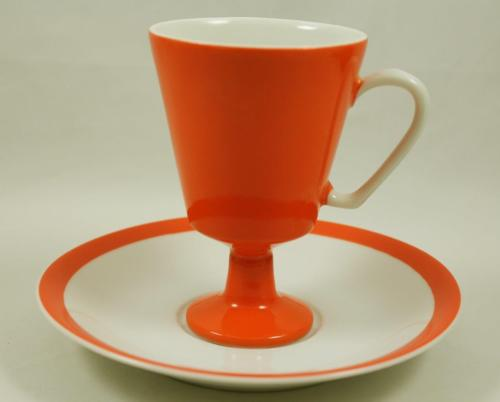 Vintage Norleans Solid Orange & White Footed Tea Cup & Saucer Japan