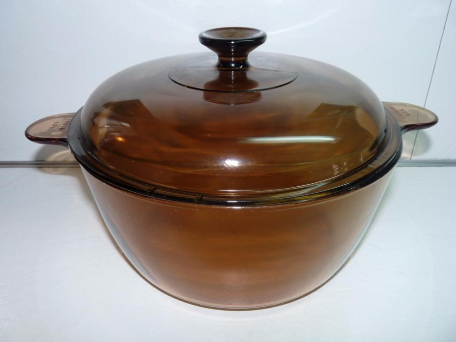 Pyrex Amber VISIONS 4.5 Liter Round Casserole Dutch Oven Stock Pot w/ Lid CLEAN