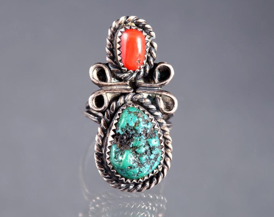 STERLING SILVER CHILDS RING NATIVE AMERICAN 925 CORAL TURQUOISE BABY VTG JEWELRY