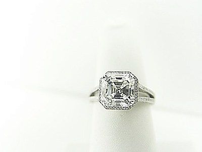 GIA CERTIFIED 3.03 CT H VS1 ASSCHER, 2.20 MICRO SETTING SIDE SET ENGAGEMENT RING