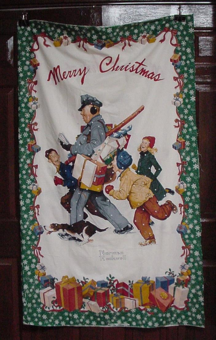 Two (2) Norman Rockwell Wamsutta MAILMAN Christmas Door Fabric Panels
