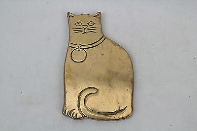 VINTAGE RUBEL BRASS CAT TRIVET SEATED CAT KITTEN KITTY HOT PLATE