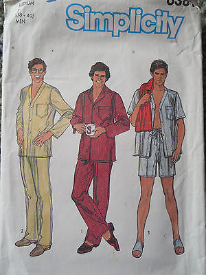 Vintage Sewing Patterns Mens 80s Pajamas PJs Night Shirt Pants M Medium 38 40