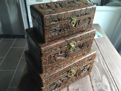 ANTIQUE ORIENTAL HAND CARVED WOOD CHINESE TRUNK JEWELRY ASIAN BOXES CHESTS