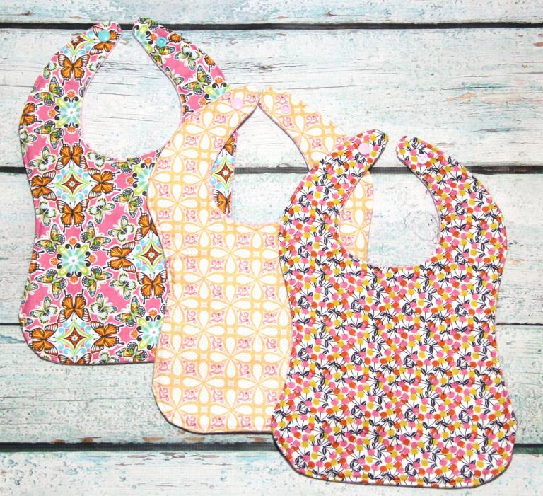 QUILTED Baby Girl Bib Set- Handmade