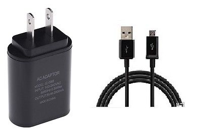 2 AMP WALL ADAPTER+5 FEET MICRO USB CABLE FOR STRAIGHT TALK SAMSUNG GALAXY SKY