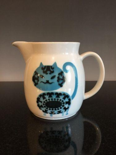 Arabia Finland Pottery Blue Cat Pitcher