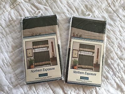 NorthCrest Northern Exposure Valance Pair 60 x 12 each Green Black Check