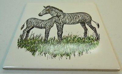 Trivet Zebra Mother And Foal Design Screencraft Cape Cod Kitchen Decor