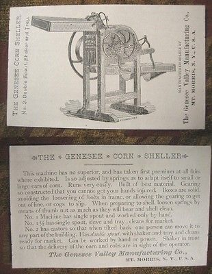 1890s Adv Flyer Farm Machinery,CORN SHELLER Genesee Valley Manu. MT MORRIS NY