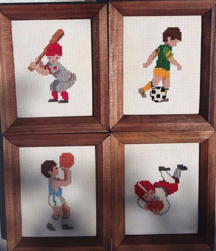 4pc Wood Finished Framed Boy Wall Decor Sports Theme Cross Stitch 4x6 Gift Decor