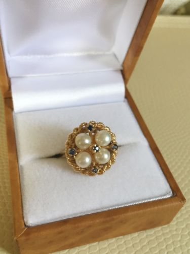 14k Gold Pearl And Sapphire Ring