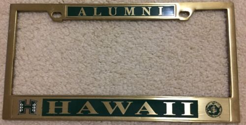 University Of Hawaii Alumni License Plate Frame Brass