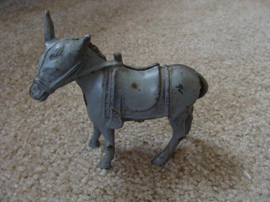 Antique Cast Iron Donkey Still Coin Bank AC Williams Mule Original