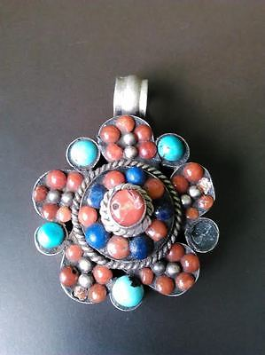 Antique Silver Turquoise Red Coral Pendant