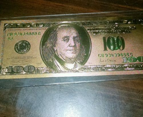 $100 gold plated bill (no back)