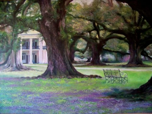 Large Oil Painting, Southern Antebellum Plantation, Majestic Oak Trees 23