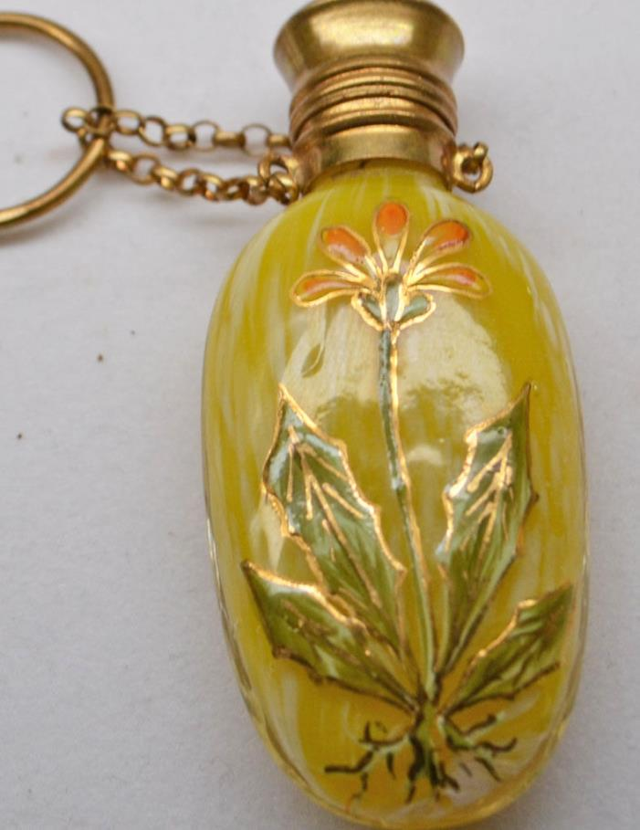 ANTIQUE GILT MOSER CHATELAINE PERFUME SCENT BOTTLE PAINTED ENAMEL ART GLASS