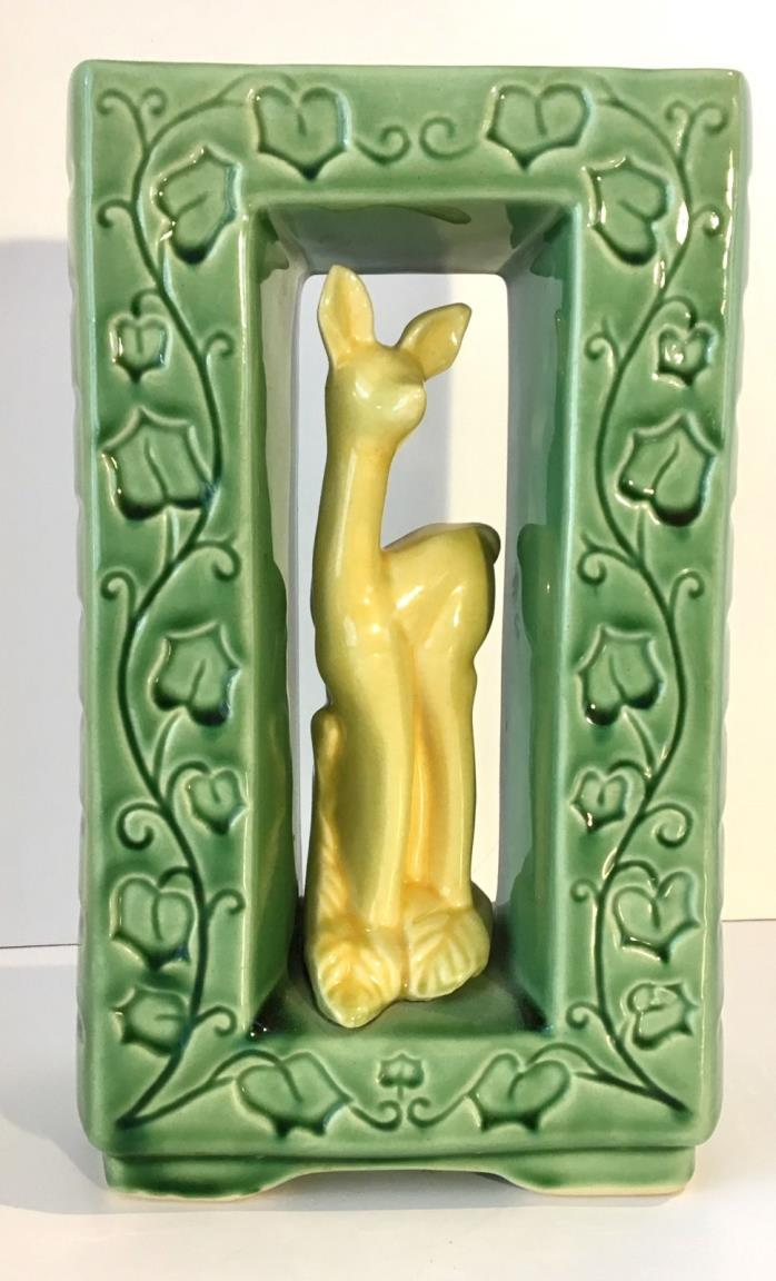 Shawnee Pottery #850 Green Planter with Yellow Doe, shadowbox effect