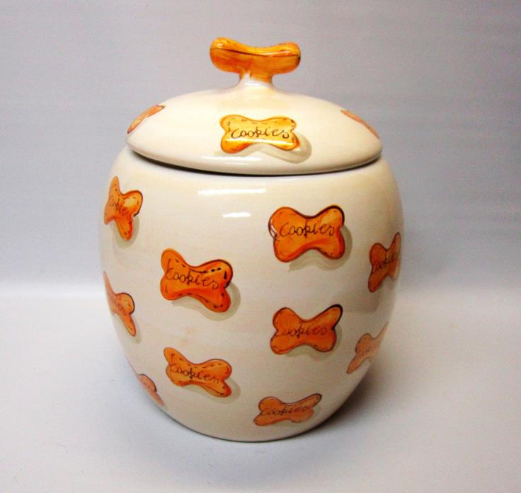 Ceramic Paw Print Doggie Treats Canister Cookie Jar