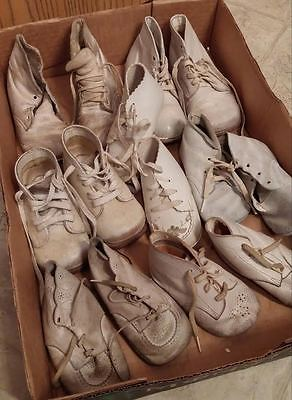 Lot of Old Vintage Baby Shoes 7pr