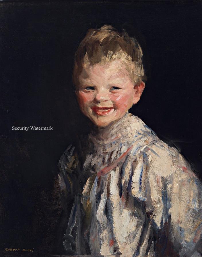 Laughing Child by American Painter Robert Henri. Canvas Art Print. Size 11x14