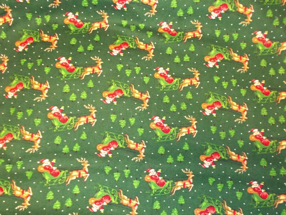 Santa Claus sleigh VIP Cranston sewing fabric cotton printworks green pine trees