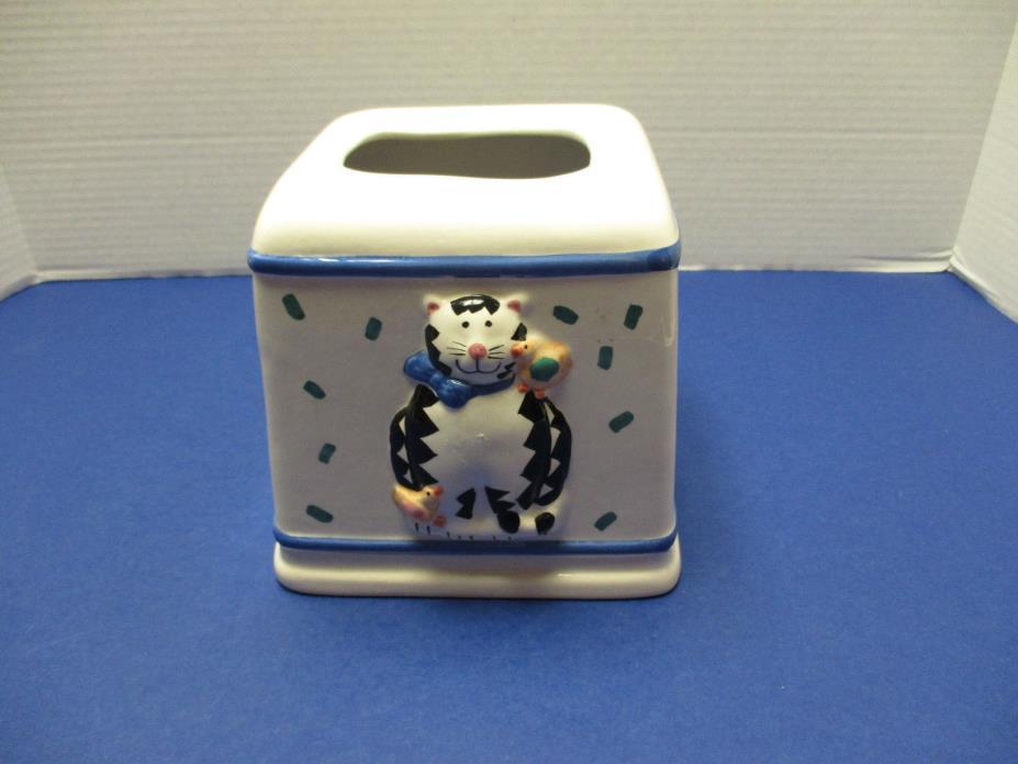Coco Dowley Kitty Cat Tissue Kleenex Holder Ceramic HTF!