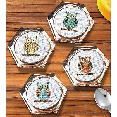 Owl Coaster Set Counted Cross Stitch Kit-3.9 Inch Hexagon 18 Count 049489002778
