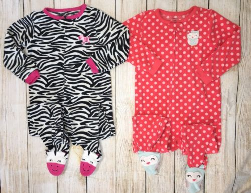 Carters Lot 4T Pajamas Zebra Owl Feet Polka Dot Stripes Zip Up Footed Pjs Sleep