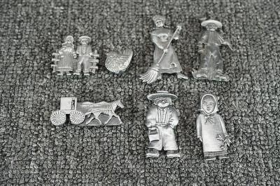 Set Of 7 Metal Farm Themed Refrigerator Magnets