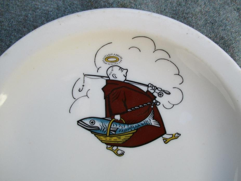VINTAGE MONK CARRYING FISH & BASKET SYRACUSE CHINA RESTAURANT PLATE