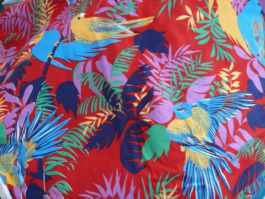 Vtg Fabric by Cranston Print Works Schwartz Liebman 5 yrds Tropical Leaves Birds