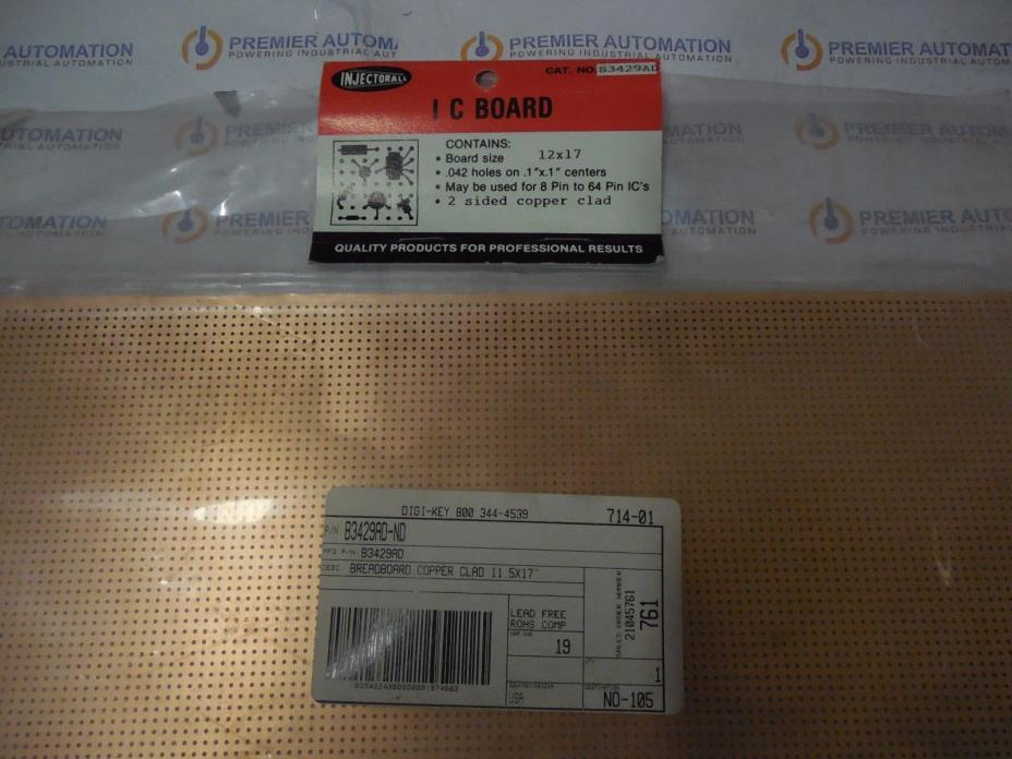 Injectorall Electronics, B3429AD-ND, Breadboard Copper Clad 12X17