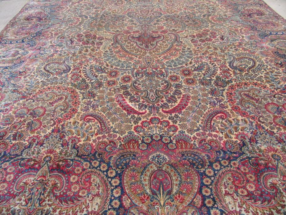 Palace Size Antique Persian Lavar Kerman 14.0x25.0