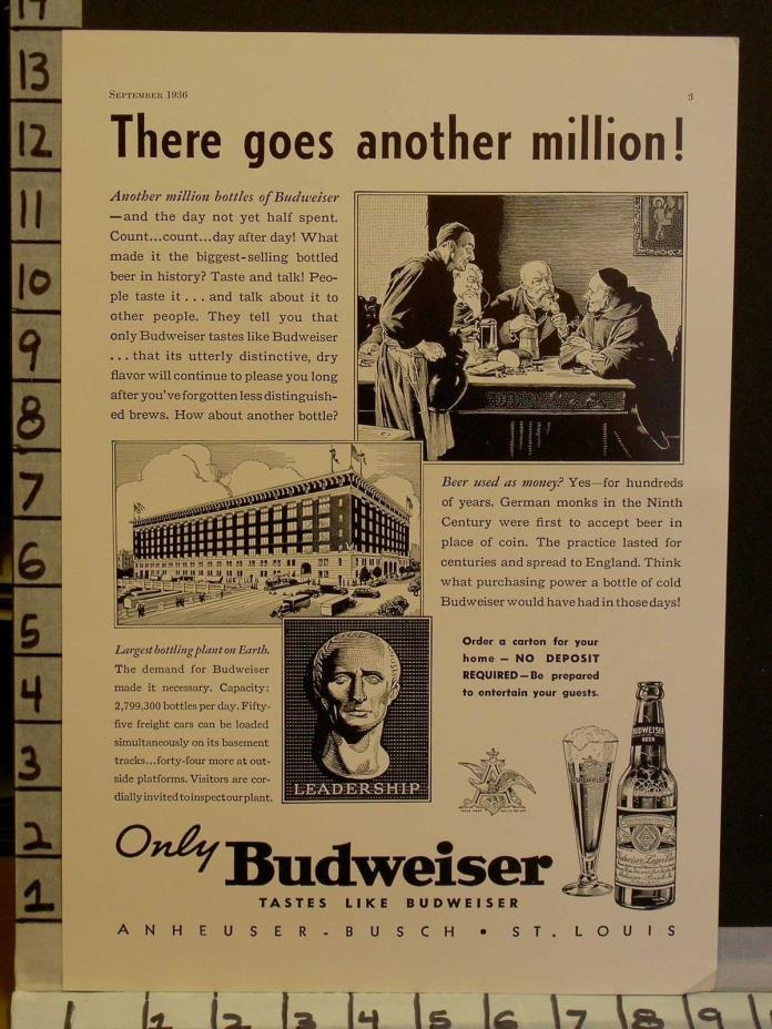 1936 BUDWEISER BEER BREWERY ALCOHOL BOTTLE PLANT FACTORY ST LOUIS AD 23156
