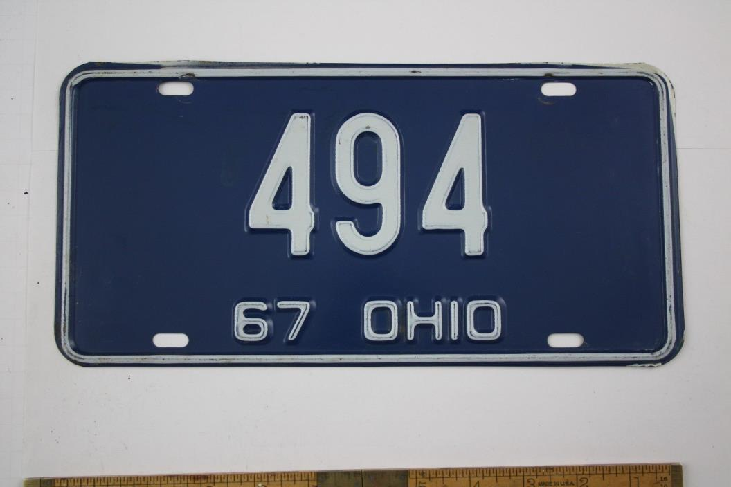 Vintage 1967 Original OHIO 3 Digit License Plate 494