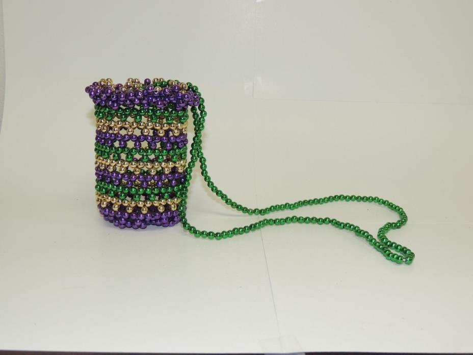 Mardi Gras Beaded bottle holder necklace can holder necklace beer necklace