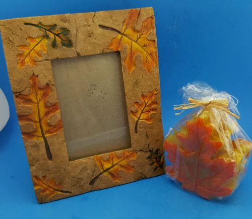 Picture Frame Autumn Leaves with matching Candle ,Frame Made of Stone,/Slate