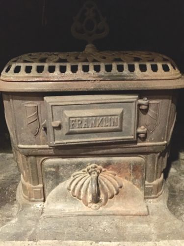 Vintage Cast Iron Franklin Wood Burning Stove. Pickup Only!