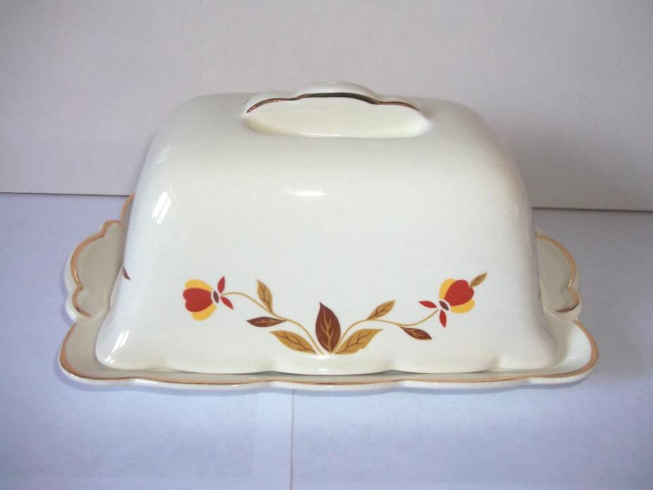 JEWEL TEA  AUTUMN LEAF POUND BUTTER DISH HALL CHINA NICE