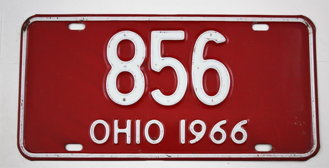 Vintage 1966 Original OHIO 3 Digit License Plate 856