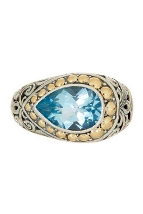 New Phillip Gavriel 18K Sterling Silver Ring with Teardrop Blue Topaz size 7