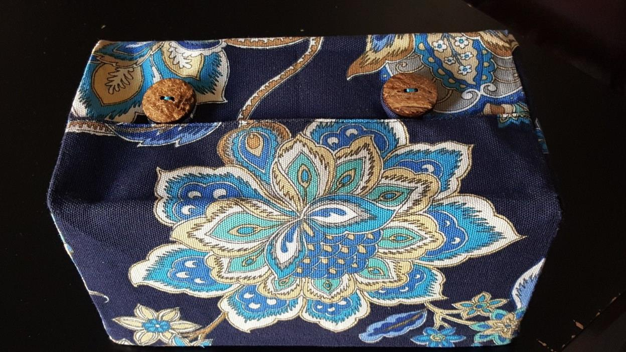 Tissue Box Cover, Fabric Tissue Box Holder, Blue Flowers Tissue Box Fabric Cover