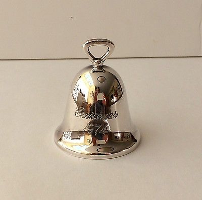 Vintage 1974 Reed and Barton Silverplate Christmas Bell Ornament, 3