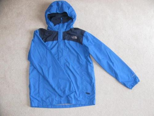 THE NORTH FACE Boys Blue Hyvent Shell Jacket Roll Up Hood Size XL Hoodie Shell