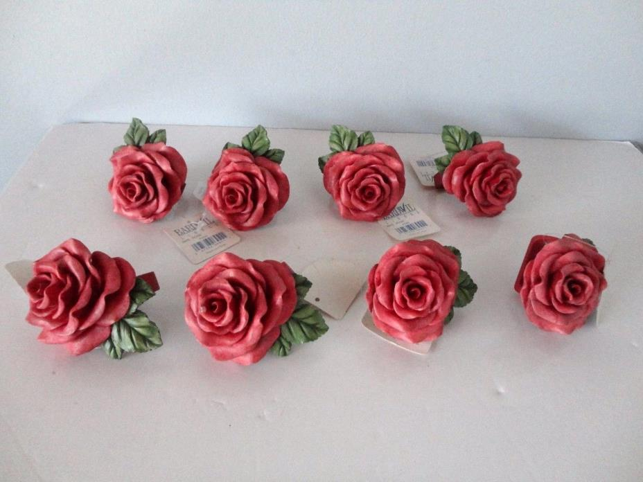 Set of 8 Bardwil Linens  Rose Colored Painted Roses -  Napkin Rings