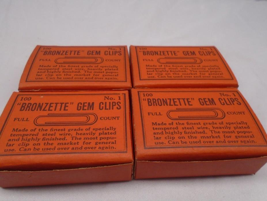 Antique Bronzette Gem Clips Lot of 4 Boxes