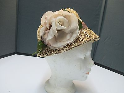 Vintage CAROL ANN  Ladies Derby Floral Straw Hat